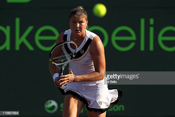 Dinara Safina of Russia in action against Vera Zvonareva of Russia during the Sony Ericsson Open at Crandon Park Tennis Center on March 25, 2011 in...