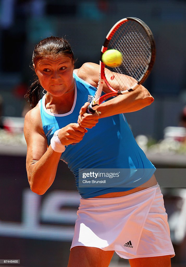 Dinara Safina of Russia plays a backhand against Caroline Wozniacki of Denmark in the womens final during the Madrid Open tennis tournament at the Caja Magica on May 17, 2009 in Madrid, Spain.