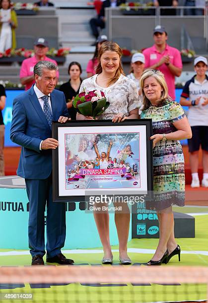 Dinara Safina of Russia poses for a photograph after announcing her retirement with Stacey Allaster CEO of the WTA Tour and Manolo Santana tournament...