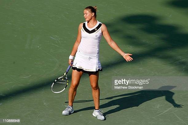Dinara Safina of Russia reacts against Vera Zvonareva of Russia during the Sony Ericsson Open at Crandon Park Tennis Center on March 25, 2011 in Key...