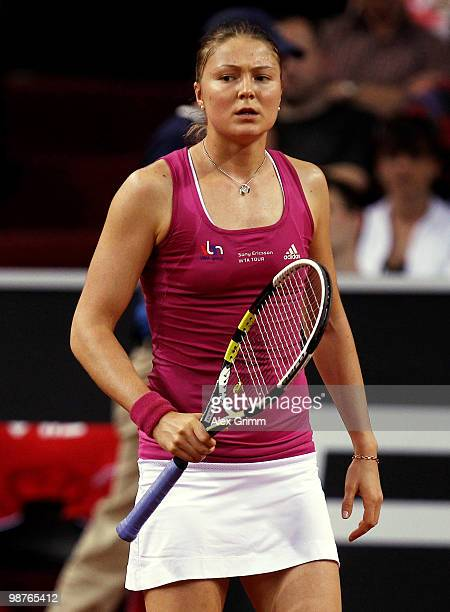 Dinara Safina of Russia reacts during her quarter final match against Shahar Peer of Israel at day five of the WTA Porsche Tennis Grand Prix...