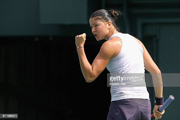 Dinara Safina of Russia reacts in in her second round match against Chang KaiChen of Chinese Taipei on day two of the Toray Pan Pacific Open Tennis...