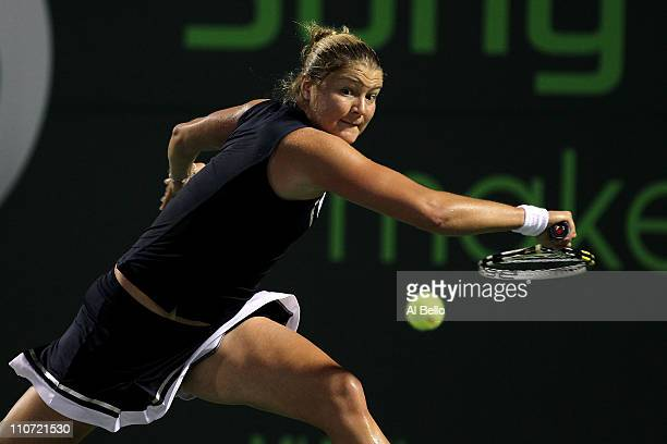 Dinara Safina of Russia returns against Jelena Dokic of Australia during the Sony Ericsson Open at Crandon Park Tennis Center on March 23 2011 in Key...