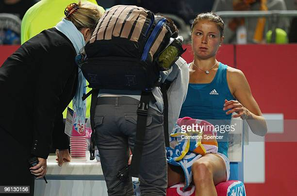 Dinara Safina of Russia seeks medical attention during her fourth round match against Maria Kirilenko of Russia during day seven of the 2010...