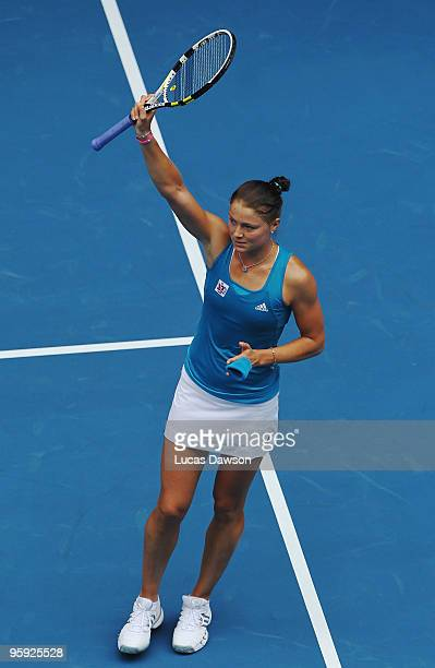 Dinara Safina of Russia thanks the crowd after winning her third round match against Elena Baltacha of Great Britain during day five of the 2010...