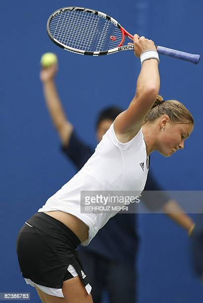 Dinara Safina of Russia throws her racket down as she plays against Elena Dementieva also of Russia during the women's singles final tennis match at...