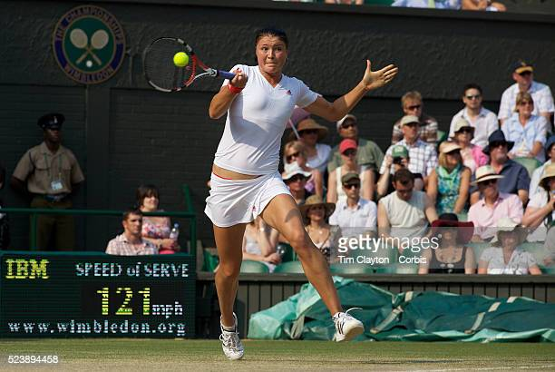 'Dinara Safina Russia in action against Venus Williams USA in the Women's Singles SemiFinal at the All England Lawn Tennis Championships at Wimbledon...