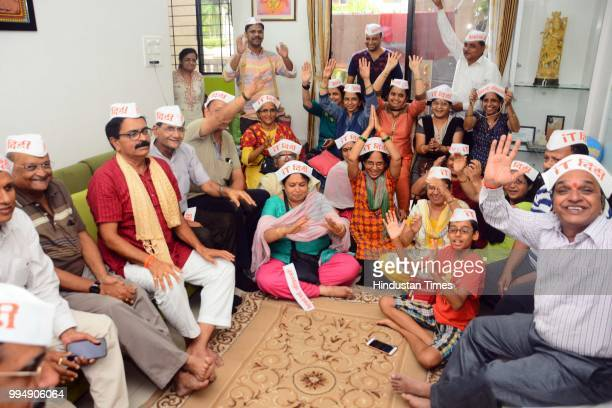 Dindi members sing Bhajan songs as they are about to go for Dindi pilgrimage on July 8 2018 in Pune India Started 11 years ago it is specially...
