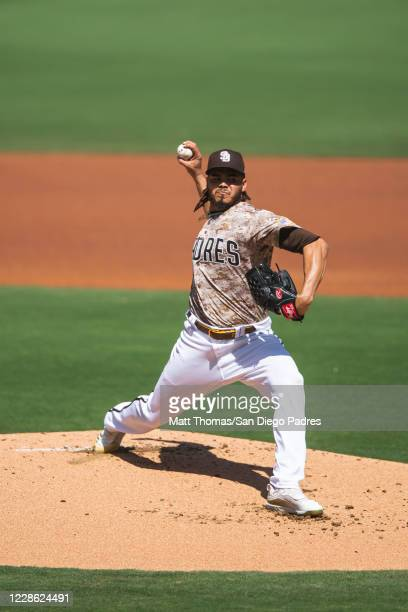 Dinelson Lamet delivers a pitch in the bottom of the first inning against the Seattle Mariners at PETCO Park on September 20, 2020 in San Diego,...