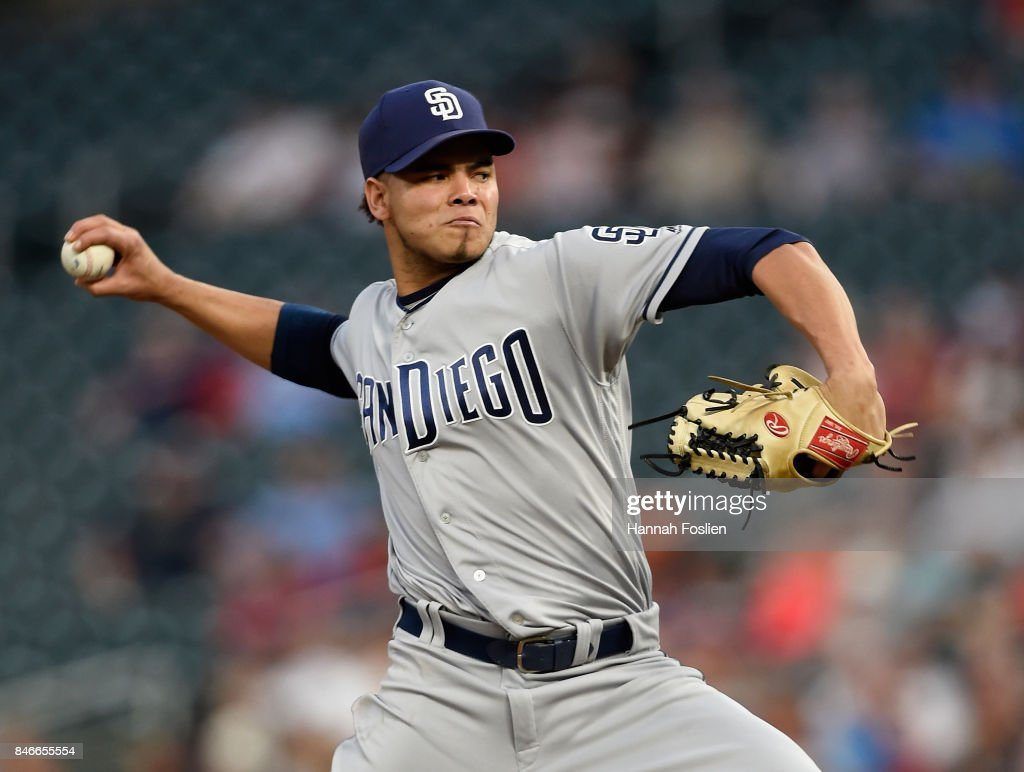 Dinelson Lamet #64 of the San Diego Padres delivers a pitch against the Minnesota Twins during the first inning of the game on September 13, 2017 at Target Field in Minneapolis, Minnesota.