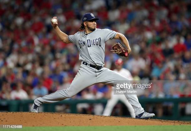 Dinelson Lamet of the San Diego Padres delivers a pitch during a game against the Philadelphia Phillies at Citizens Bank Park on August 17, 2019 in...