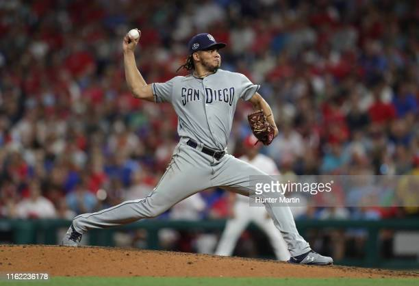 Dinelson Lamet of the San Diego Padres delivers a pitch in the sixth inning during a game against the Philadelphia Phillies at Citizens Bank Park on...