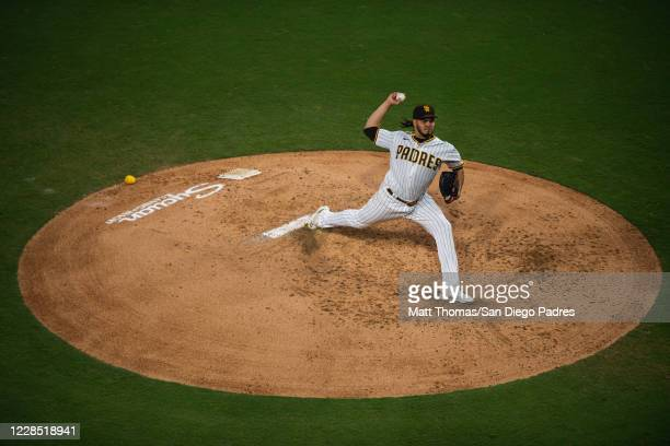 Dinelson Lamet of the San Diego Padres delivers a pitch in the top of the fifth inning against the Los Angeles Dodgers at PETCO Park on September 14,...