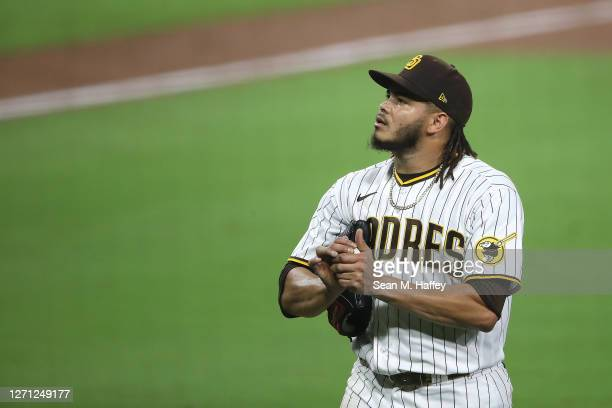 Dinelson Lamet of the San Diego Padres leaves the game during the eighth inning of a game against the Colorado Rockies at PETCO Park on September 07,...