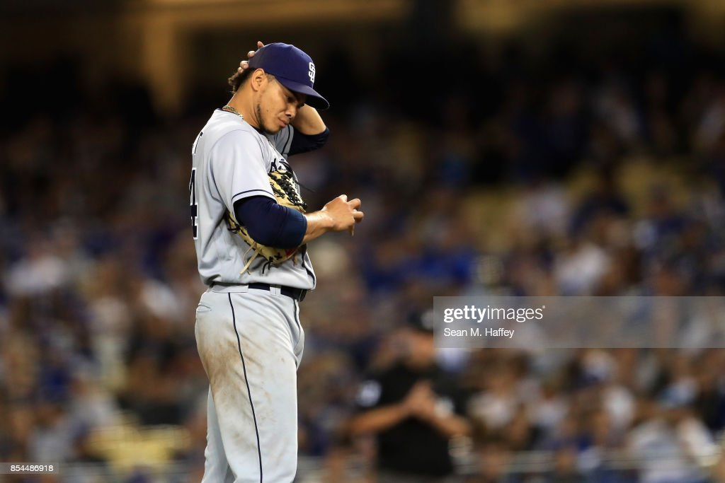 Dinelson Lamet #64 of the San Diego Padres looks on during the fifth inning of a game against the Los Angeles Dodgers at Dodger Stadium on September 26, 2017 in Los Angeles, California.