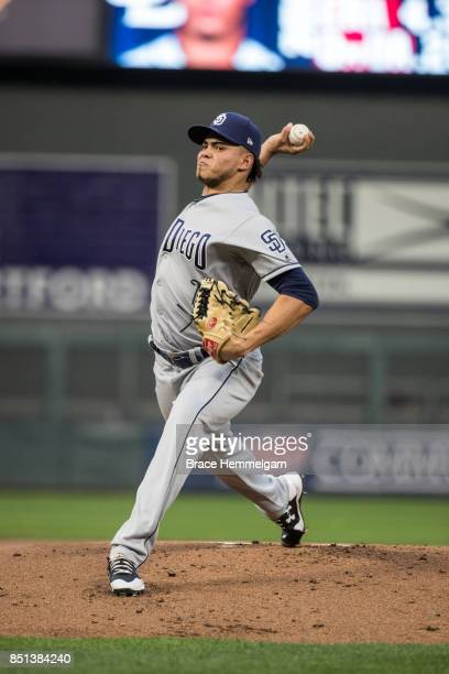 Dinelson Lamet of the San Diego Padres pitches against the Minnesota Twins on September 13, 2017 at Target Field in Minneapolis, Minnesota. The Twins...