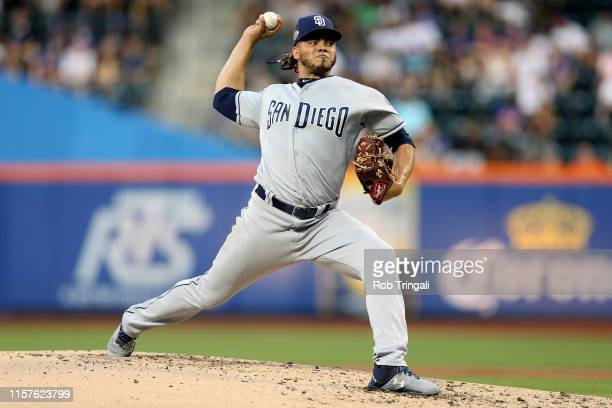 Dinelson Lamet of the San Diego Padres pitches against the New York Mets at Citi Field on Wednesday, July 24, 2019 in Flushing, New York.