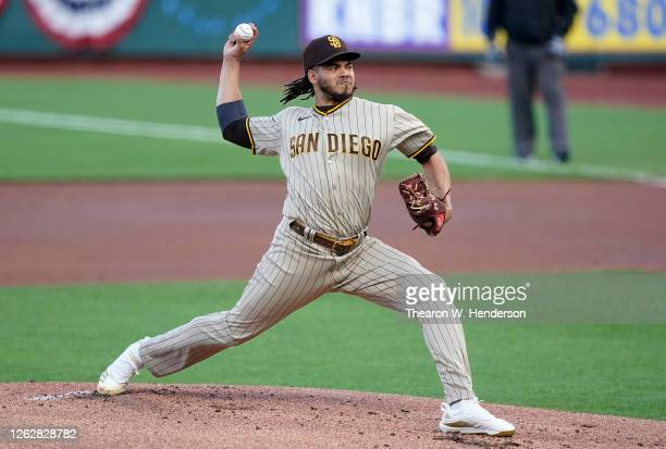 Dinelson Lamet of the San Diego Padres pitches against the San Francisco Giants in the bottom of the first inning at Oracle Park on July 30, 2020 in...