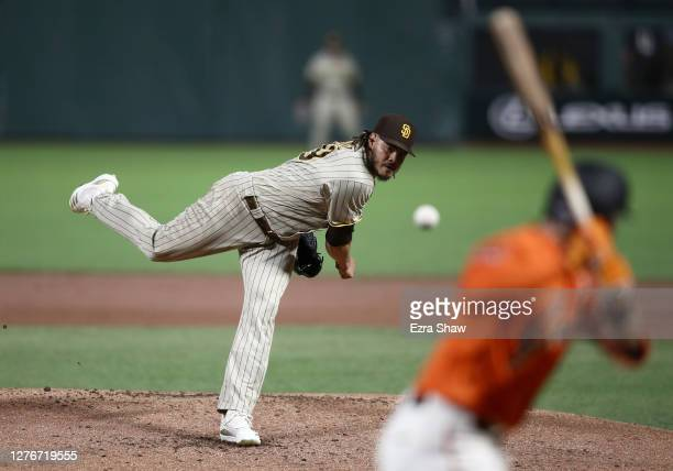 Dinelson Lamet of the San Diego Padres pitches against the San Francisco Giants in the second inning of game two of their double header at Oracle...