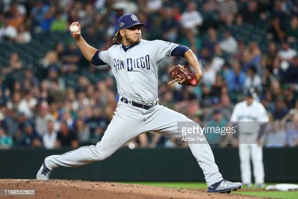 Dinelson Lamet of the San Diego Padres pitches against the Seattle Mariners in the sixth inning during a game at T-Mobile Park on August 06, 2019 in...