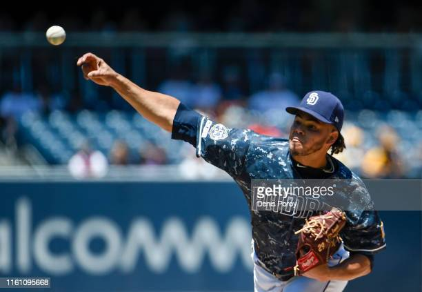 Dinelson Lamet of the San Diego Padres pitches during the first inning of a baseball game against the Colorado Rockies at Petco Park August 11, 2019...