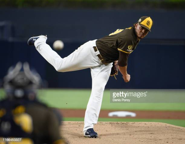 Dinelson Lamet of the San Diego Padres pitches during the first inning of a baseball game against the Colorado Rockies at Petco Park September 6,...