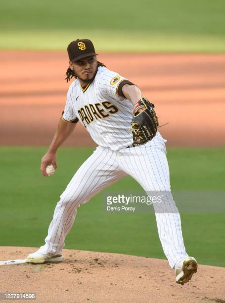 Dinelson Lamet of the San Diego Padres pitches during the first inning of a baseball game against the Los Angeles Dodgers at Petco Park on August 4,...