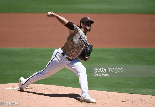 Dinelson Lamet of the San Diego Padres pitches during the first inning of a baseball game against the Arizona Diamondbacks at Petco Park on August 9,...