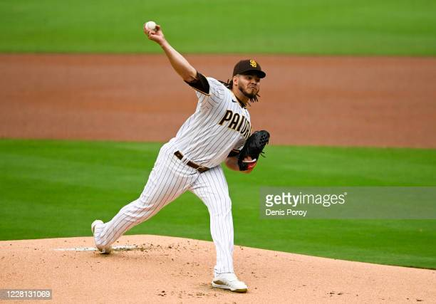Dinelson Lamet of the San Diego Padres pitches during the first inning of a baseball game against the Texas Rangers at Petco Park on August 20, 2020...