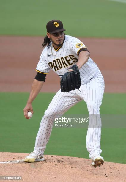 Dinelson Lamet of the San Diego Padres pitches during the first inning of a baseball game against the Los Angeles Dodgers at Petco Park on September...
