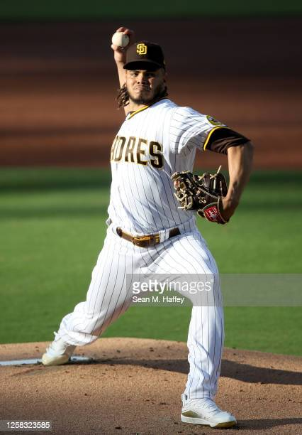 Dinelson Lamet of the San Diego Padres pitches during the first inning of a game against the Arizona Diamondbacks at PETCO Park on July 25, 2020 in...