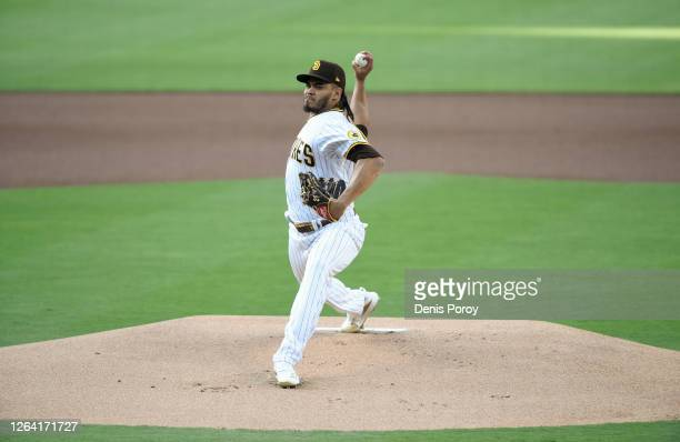 Dinelson Lamet of the San Diego Padres pitches during the first inning of a baseball game against the Los Angeles Dodgers at Petco Park August 4,...