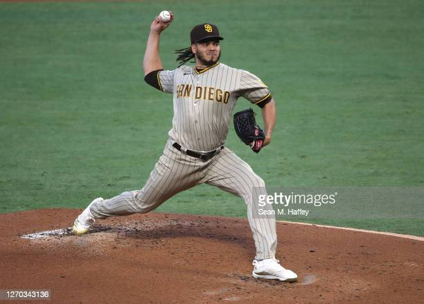 Dinelson Lamet of the San Diego Padres pitches during the first inning of a game against the Los Angeles Angels at Angel Stadium of Anaheim on...