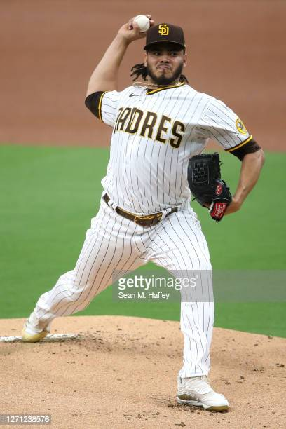 Dinelson Lamet of the San Diego Padres pitches during the first inning of a game against the Colorado Rockies at PETCO Park on September 07, 2020 in...