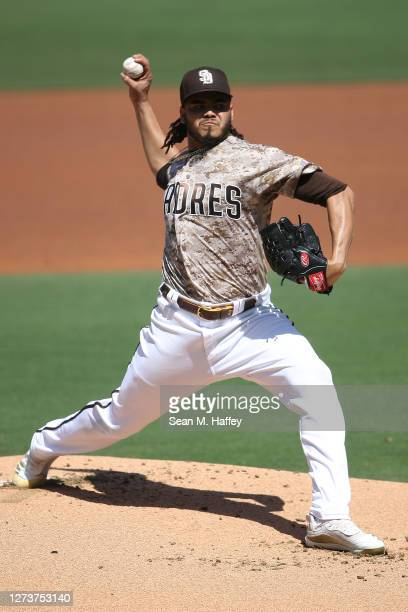 Dinelson Lamet of the San Diego Padres pitches during the first inning of a game against the Seattle Mariners at PETCO Park on September 20, 2020 in...