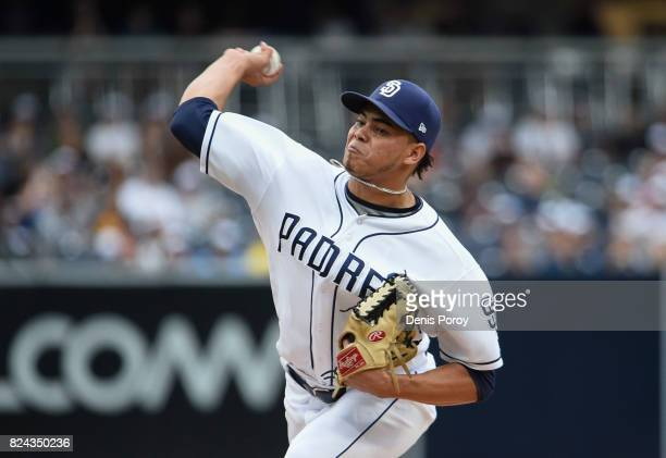 Dinelson Lamet of the San Diego Padres pitches during the first inning of a baseball game against the Pittsburgh Pirates at PETCO Park on July 29,...