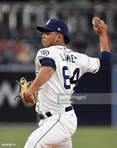 Dinelson Lamet of the San Diego Padres pitches during the first inning of a baseball game against the St. Louis Cardinals at PETCO Park on September...