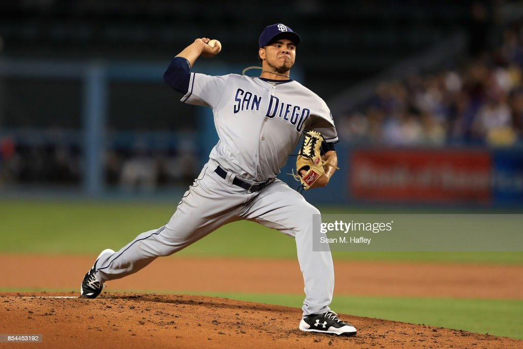 Dinelson Lamet #64 of the San Diego Padres pitches during the first inning of a game against the Los Angeles Dodgers at Dodger Stadium on September 26, 2017 in Los Angeles, California.