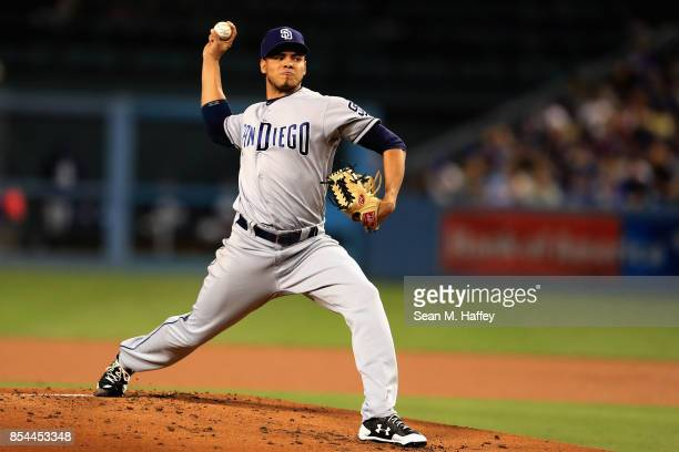 Dinelson Lamet of the San Diego Padres pitches during the first inning of a game against the Los Angeles Dodgers at Dodger Stadium on September 26,...