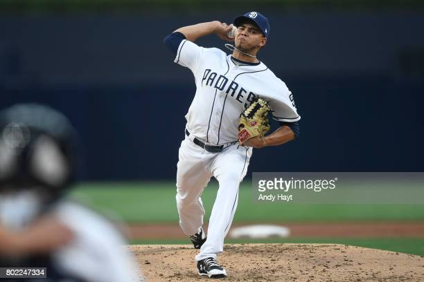 Dinelson Lamet of the San Diego Padres pitches during the game against the Detroit Tigers at PETCO Park on June 24, 2017 in San Diego, California.