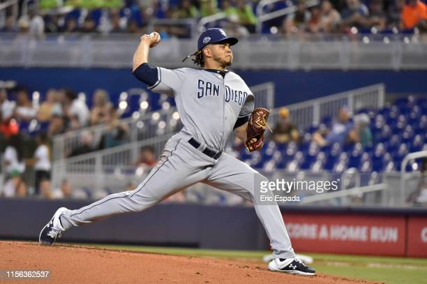 Dinelson Lamet of the San Diego Padres throws a pitch during the first inning against the Miami Marlins at Marlins Park on July 18, 2019 in Miami,...