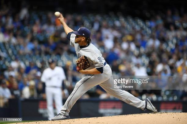 Dinelson Lamet of the San Diego Padres throws a pitch during the first inning against the Milwaukee Brewers at Miller Park on September 18, 2019 in...