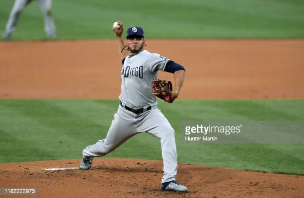Dinelson Lamet of the San Diego Padres throws a pitch in the first inning during a game against the Philadelphia Phillies at Citizens Bank Park on...