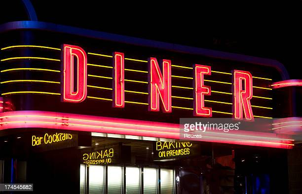 diner neon sign in red and yellow - diner stock pictures, royalty-free photos & images