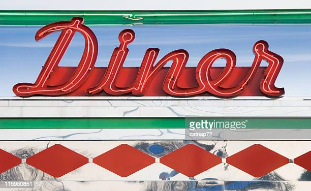 diner neon sign in red, roadside americana 1950's retro style - diner stock pictures, royalty-free photos & images