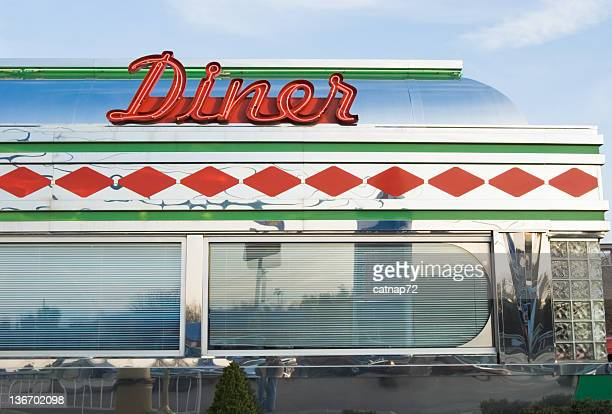 diner sign in red neon, roadside restaurant, retro 1950's - diner stock pictures, royalty-free photos & images