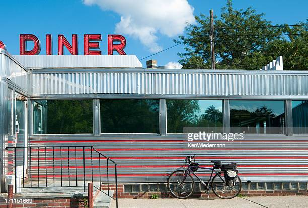 diner with bicycle - diner stock pictures, royalty-free photos & images