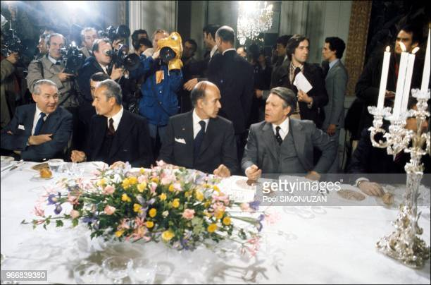 Diner with the six heads of state and government: Left to right , Harold Wilson , Aldo Moro , Valery Giscard d'Estaing , Helmut Schmidt .