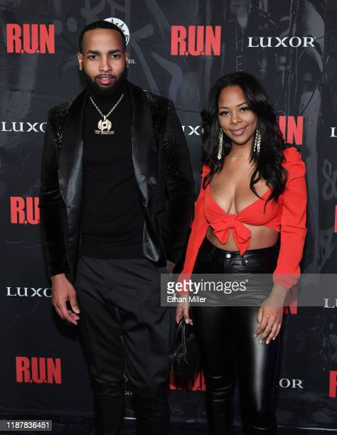 J Dinero and Yanira Pache attend the grand opening night for RUN The First Live Action Thriller presented By Cirque du Soleil at Luxor Hotel and...