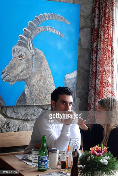 Diners are seen at Lej da Staz a restaurant in Pontresina Switzerland